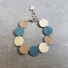 Leather Dots blauw beige