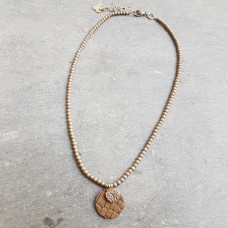 Leather Dots goud bruin ketting