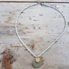 Leather Dots groen oker taupe ketting