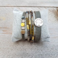 Set Button  taupe goud